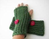 Hand Crochet fingerless gloves in Soft GREEN RED Acrylic