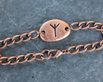 Custom Copper Rune Bracelet or Anklet- Handmade Viking Elder Futhark Runic Letter- personalized rune- Initial, Monogram- free shipping usa