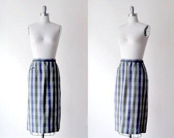 1960 print skirt. 60's green & blue skirt. wool. pencil skirt. m. green skirt. 1960's striped skirt.