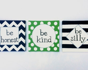 Chevron Boy Nursery Art, ralph waldo emerson quote, be honest, be kind, be silly