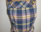 60s Top Cotton Blouse Vintage Plaid Summer Top Plaid and Striped Vintage Suntop / Cute Button Detail / Summer Picnic