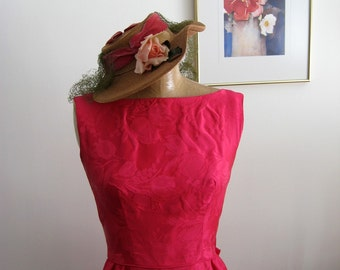 40s Straw Hat / Straw Hat with Fabric Roses / Tilt Hat / My Fair Lady / Rauschert Loeurs Maiden Lane Albany, NY