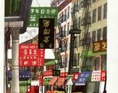 Chinatown in New York City, vintage New York print, New York street signs