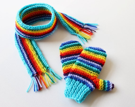 Turquoise Rainbow Pixie Set of Mittens and Matching Scarf - Children's Rainbow Scarf and Mittens Winter Outfit