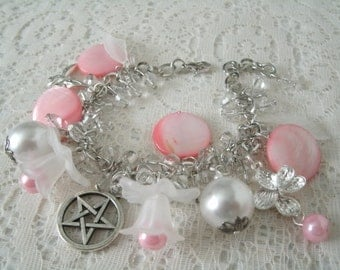 Flower Pentacle Charm Bracelet, wiccan jewelry pagan jewelry wicca jewelry witch witchcraft pentagram goddess metaphysical magic handfasting