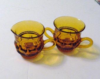 Kings Crown Thumb Print Amber Sugar and Creamer Set - Indiana Glass
