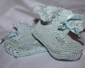 Baby Booties Crochet  blue Baby Girls Shoes Hand made
