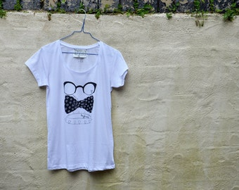 Oversized womens tshirt hand screen printed illustration - Naughty dog accessories - glasses bow studded collar