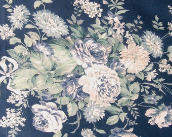 Cotton Fabric Print - floral print fabric on navy blue - 1 yard ctnp258