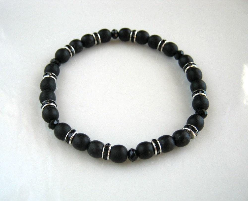 black stretch bracelet black rhinestone bracelet black