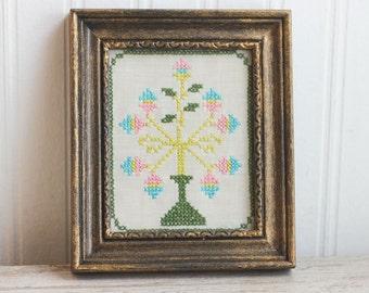 Vintage Needlework, Pastel Egg Tree, Miniature Cross Stitch, Spring Flower Tree, Cottage Home Decor , Ornate Frame, Nursery Art,
