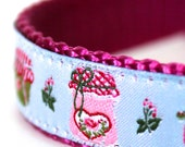 Jam and Jelly Dog Collar/ Adjustable Ribbon Dog Collar / Shabby and Chic / Cottage Rosebuds
