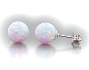 Lorraine: 8mm Australian Fiery White Opal Ball Stud Post Earrings, 925 Sterling Silver, White Opal Earrings, Bridesmaid Earrings