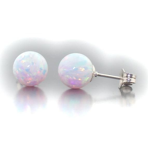 Lorraine: 8mm Australian Fiery White Opal Ball Stud Post Earrings 925 Sterling Silver