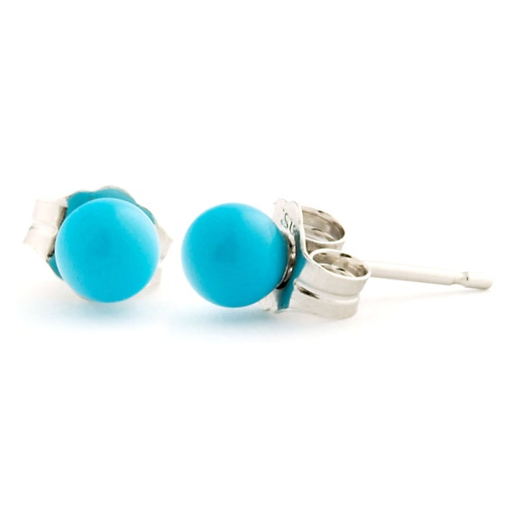 4mm Sleeping Beauty Turquoise Ball Stud Post Earrings, Solid 925 Sterling Silver, Blue Turquoise Ball Studs, Bridesmaid Turquoise Earrings