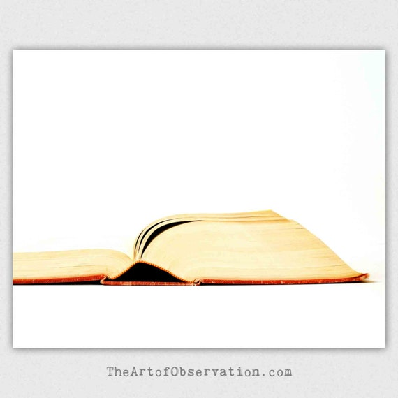 Minimalist white Book Photography Print, still life