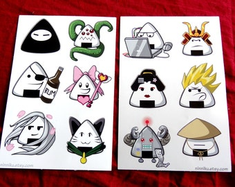 Cute Kawaii Rice Ball Onigiri People Dressed as Anime Video Game Character Tropes 4x6 Vinyl Sticker Sheets **Last ones-1 of each page left**