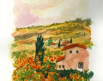 "Original ART Painting Original Watercolor Italian Landscape ""TUSCANY"" Italy Italian Landscape & Scenic Made to Order"