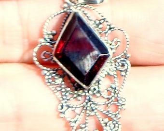 Garnet Pendent, Vintage Sterling Silver Filigree Pendent,Neo Victorian, Steam Punk Goth,Edwardian Fantasy,Natural Gemstone,Blood Red Stone
