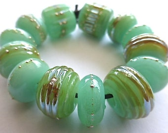 MADE TO ORDER  13 Maui Luna Artisan Handmade Glass Bead Set in Crysoprase Green Opal w Double Helix and Fine Silver by Sarah