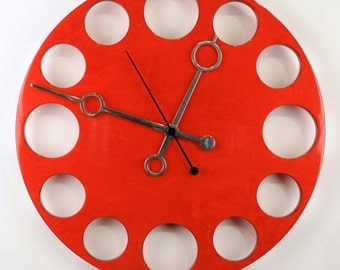 "POP Clock in Red, 18"" Modern Wall Clock"