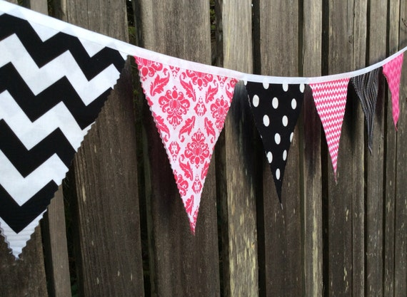 Bunting Flags Pink and Black Fabric Pennants size Large