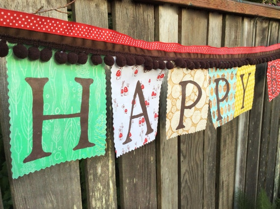 Fabric Happy Birthday Banner Woodland Camping Bunting Flags Party Banner Birthday Decoration