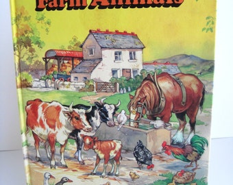 First Picture Book of FARM ANIMALS - Large Vintage Hardback - Printed in Belgium