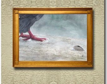Contemplation on a Feather - Fine Art Print on heavy Cotton Canvas - unframed