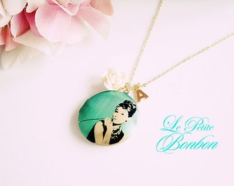 Audrey Hepburn with initial pictures Locket necklace