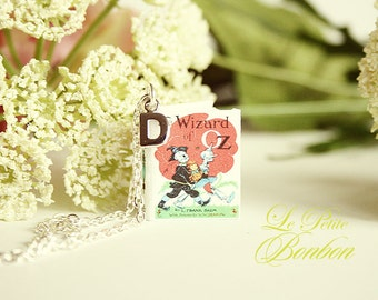 Wizard of Oz story book with initial necklace