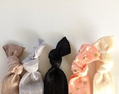 Tres Chic French Black Taupe Glitter Pink Polka Dot Gold Hair Ties  Set of 5 Pack of Five Pony Ponies No Crease Hippie Pretty Girly Present