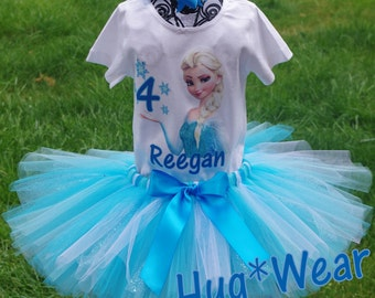 Custom Elsa Frozen Princess Birthday Shirt + Tutu Outfit (any age)