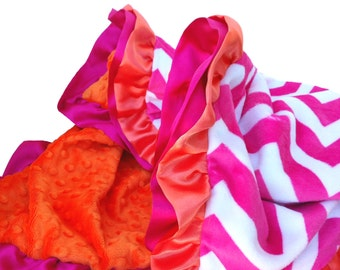 New Double Ruffle Hot Pink Chevron with Orange Dot Minky Baby Blanket