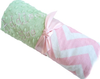 Mint Green Minky with Pink and White Minky Chevron Baby Blanket Personalization Included over 35 fonts to choose fro