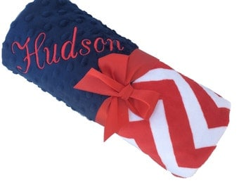 Lovey Size Red White and Blue Chevron Minky Baby Blanket Personalization Included