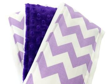 Lavender and White Cotton Chevron Minky Burp Clothes Set of Three