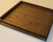 Extra Large 36x36 Custom Handmade Dark Walnut Stained Wood Ottoman Serving Tray