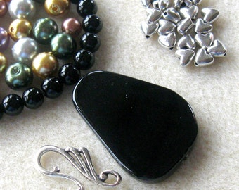 Black Onyx, Glass Pearls,  DIY Jewelry Kits, Bead Kits, Craft Supplies, Necklace Kit, Silver Plated, Jewelry Making Beads, Gemstone Beads