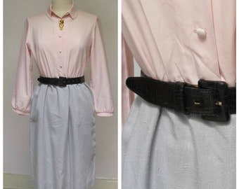 gray and pink 70s 80s vintage shirt dress long sleeve career secretary shirtwaist dress Malouf of Dallas large 12 14