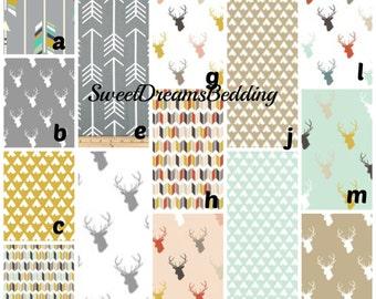 Custom Crib Bedding You Design    Deer Arrow teepee gold gray mint