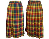 1970's Wool Plaid Wrap Skirt or Kilt Sirotto Sport S