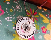 NEW-Simple Family Tree Hand Stamped Necklace