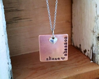 NEW-Modern Copper Square Hand Stamped Necklace