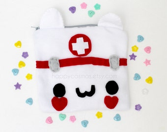 Nurse Cat Zipper Pouch - Pencil Pouch, Pencil Case, School Supplies, Make Up Bag, 3DS Case, Phone Case, Coin Purse