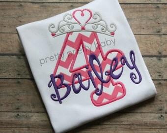 pretty pretty princess birthday shirt, princess crown number appliqué shirt, princess birthday part shirt