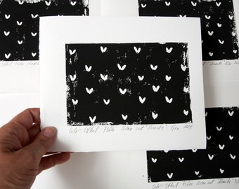 heart paper linocut original hearts black white monochrome abstract valentines day composition contemporary fine art scandinavian