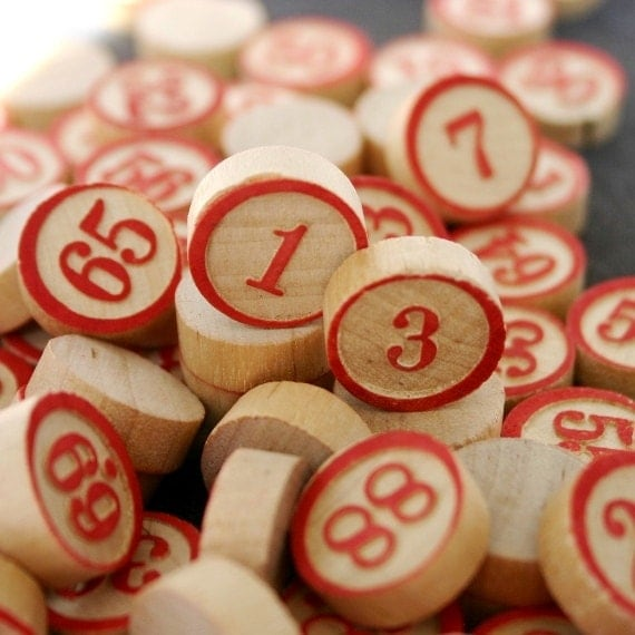Lucky numbers. Vintage wooden bingo game calling markers. Complete 0 to 90 series.