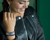 Evil eye loom woven cuff bracelet with gunmetal chain and black Swarovski - statement cuff - evil eye jewelry - Native bead loom cuff