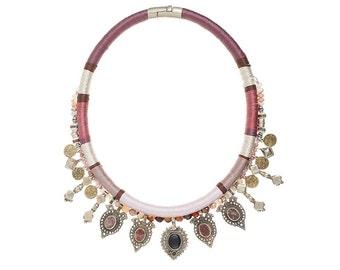 Massai Warrior One of a Kind choker #02 - Tribal neckpiece - Ethnic necklace - Vintage afghan kuchi necklace - gemstone jewelry